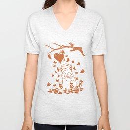 Valentine Cat with Bird and Heart Unisex V-Neck