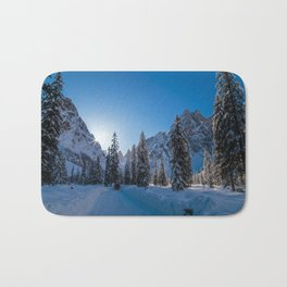 Sunny morning in Val Fiscalina Bath Mat
