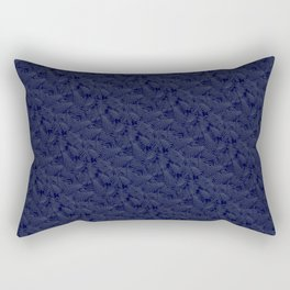Muted '90s Fern Background Grid at Dusk – Deep Blue Rectangular Pillow
