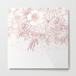 Rose gold hand drawn floral doodles and confetti design Metal Print