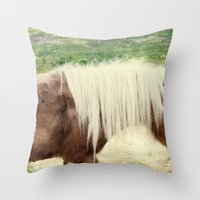 pony Throw Pillows featuring Pony by angela haugland