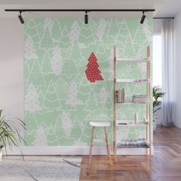 Elegant Green Christmas Trees Holiday Pattern Wall Mural