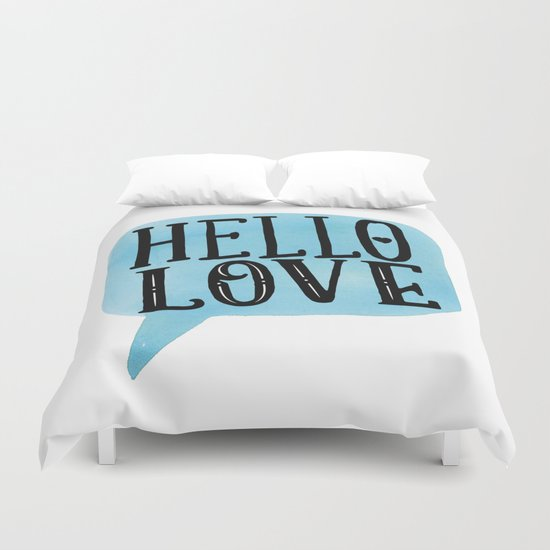 Hello Love Lettering Duvet Cover