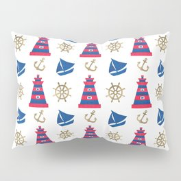 Blue red faux gold hand painted watercolor nautical pattern Pillow Sham