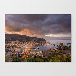 Harbor at Avalon on Catalina Island at Sunset Canvas Print