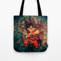 goku Tote Bags featuring Kid Goku by Sirenphotos