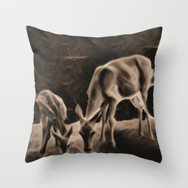 Doe And Fawn At Night Throw Pillow