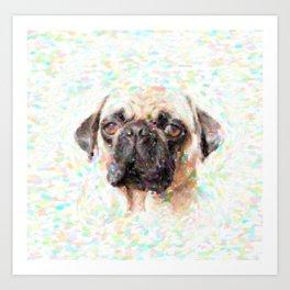 Pointillistic Pug Art Print