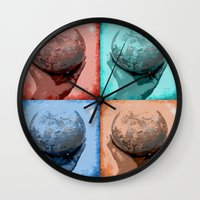 globe Wall Clocks featuring Globe by Aloke Design