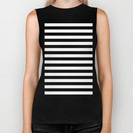 Narrow Horizontal Stripes - White and Black Biker Tank