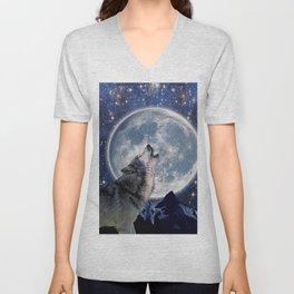 One Wolf Moon - Wildlife Art Unisex V-Neck