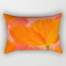 Beautiful Poppies Coral Color Background #decor #society6 #buyart Rectangular Pillow