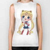 sailormoon Biker Tanks featuring Sailor Moon Chibi by Hikari Rua