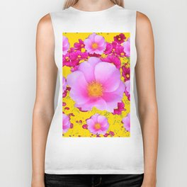 Decorative FUCHSIA  PINK ROSE FLOWERS GARDEN ON YELLOW Biker Tank