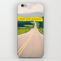never stop exploring iPhone & iPod Skins featuring Never stop exploring by Ale Ibanez