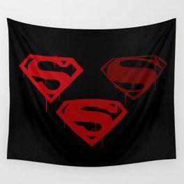 Three Supermen Wall Tapestry