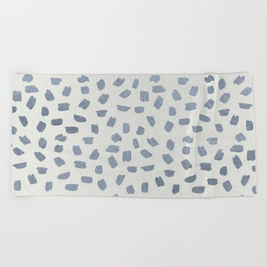 Simply Ink Splotch Indigo Blue on Lunar Gray Beach Towel