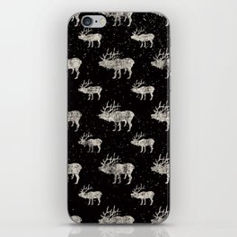 Moose in Winter Snow on Black -Wild Animals-Mix and Match with Simplicity of Life iPhone Skin