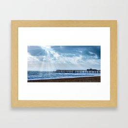 Cloudy Pier Scene Framed Art Print
