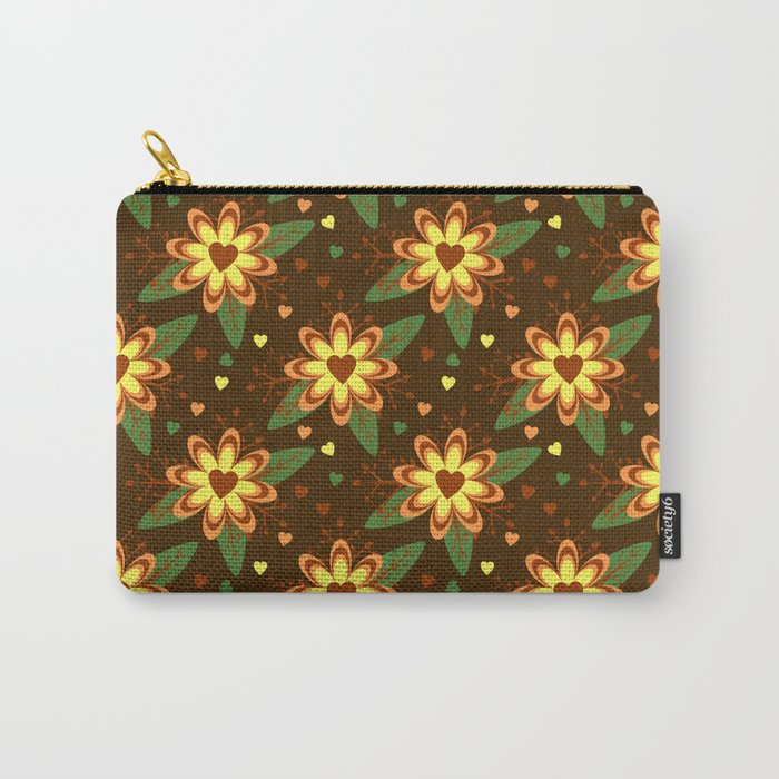 Beautiful Flowers with Heart Pistil Pattern Carry-All Pouch