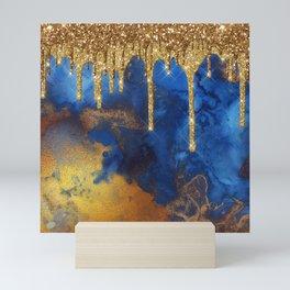 Gold Rain on Indigo Marble Mini Art Print