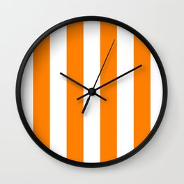 Vertical Stripes - White and Orange Wall Clock