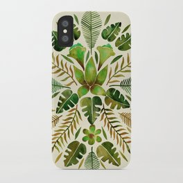 Tropical Symmetry – Olive Green iPhone Case