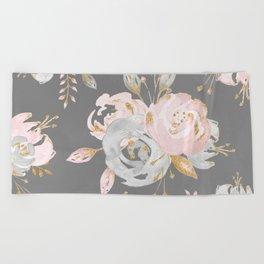 Night Rose Garden Gray Beach Towel
