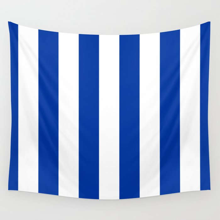 Dark Princess Blue And White Wide Vertical Cabana Tent Stripe Wall Tapestry