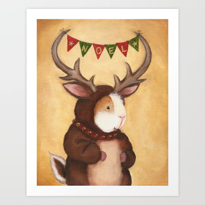 Ferdie the Christmas Reindeer Guinea Pig Art Print