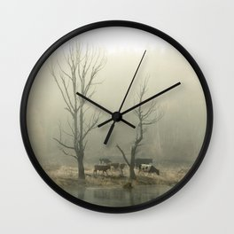 Early morning forest and creek Wall Clock