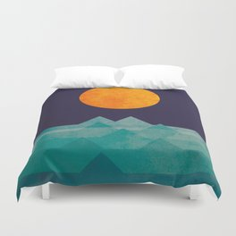 The ocean, the sea, the wave - night scene Duvet Cover
