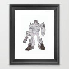 Optimus Black and White Framed Art Print