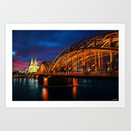 That Night on the River Rhine in Cologne by Jeanpaul Ferro Art Print
