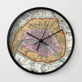 Vintage Map of Paris Fortifications (1841) Wall Clock