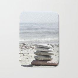 Balancing Stones On The Beach Bath Mat