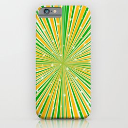 Green Orange And White And Rays Background With Stars iPhone Case
