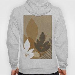 Silhouette leaves in brown and beige Hoody