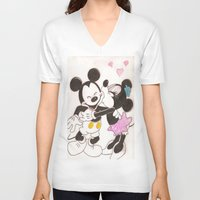 minnie V-neck T-shirts featuring Mickey & Minnie by karl oconnor