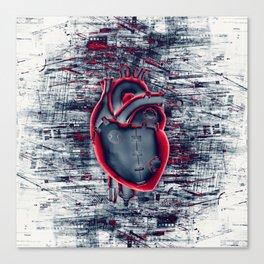 Gamer Heart BLUE CRIMSON / 3D render of mechanical heart Canvas Print