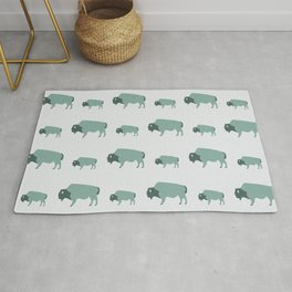 Bison And Baby (Moss) Rug