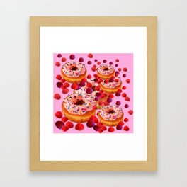 DELICIOUS PINK PASTRY & RASPBERRIES DESSERTS Framed Art Print
