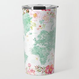 Mint green and hot pink watercolor world map with cities Travel Mug