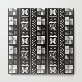 White on black lines and dots on textured cloth - abstract stripe geometric pattern Metal Print