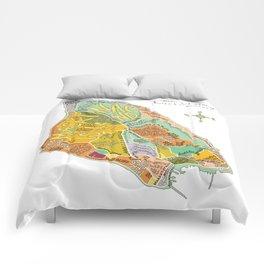 Mackinac Island Illustrated Map Comforters