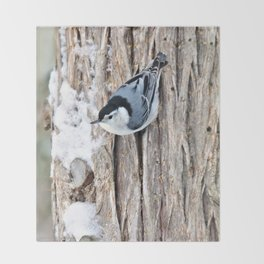 White-breasted Nuthatch Throw Blanket
