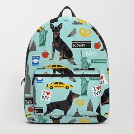 Miniature Doberman Pinscher min pin new york city tourist landmarks cute dog breed gifts Backpack