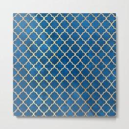 Blue and Gold Quatrefoil Art Deco Pattern Metal Print