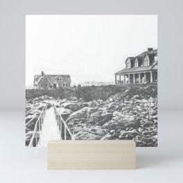 1895 Windswept Black Point Mansion, Scarborough Beach, Narragansett, Rhode Island Then & Now Mini Art Print