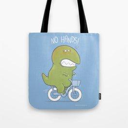 T-Rex tries biking Tote Bag